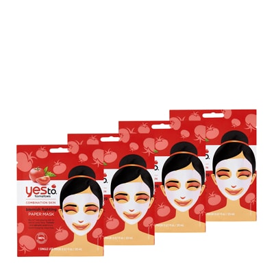 Yes To Tomatoes Blemish Fighting Paper Mask 4 Pack